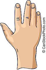 Hand erhoben in einer offenen Hand