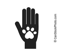 Hand-Fuß-Druck Liebestier-Icon. Vektorgrafik