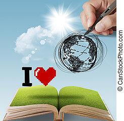 Hand gemalt, ich liebe die Erde