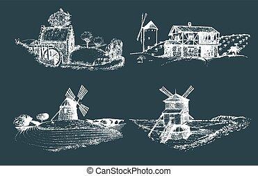 Hand gezeichnete alte rustikale Mühlenbilder.Vector Landlandschaft Illustrationen gesetzt. Europäische Landschaftsskizzen für Plakate.