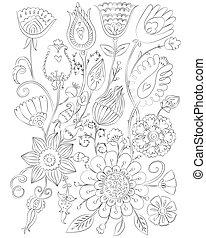 Hand gezeichnete Blumenfarm für Erwachsene.