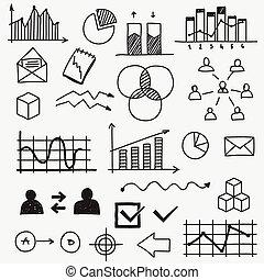 Hand gezeichnete Business doodle skizziert Elemente Concept infographic finance analytics Lernen Fortschritte.