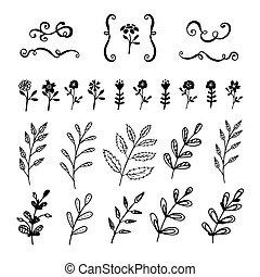 Hand gezeichnete Dekorationselemente.