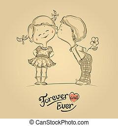 Hand gezeichnete Illustration von küssenden Jungen und Mädchen.