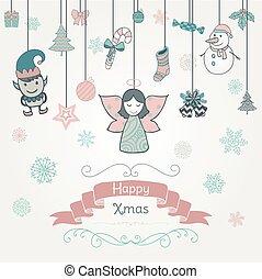 Hand gezeichnete Kunstweihnachtsdoodle Einladungskarte.