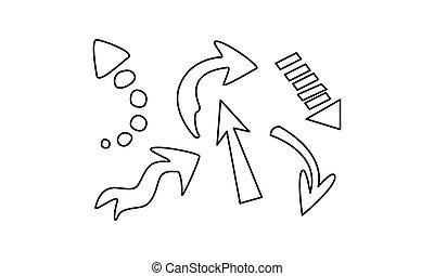 Hand gezeichnete Pfeile setzen Vektor Illustration auf einen weißen Hintergrund.
