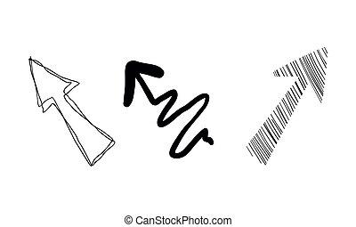 Hand gezeichnete Pfeile Vektor Illustration auf einem weißen Hintergrund.