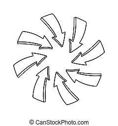 Hand gezeichnete Pfeile zeigen auf einen Mittepunkt.