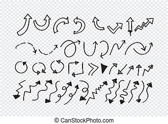 Hand gezeichnete Pfeilsammlung.