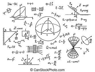Hand gezeichnete Physikformeln Wissenschaftswissenschaft.