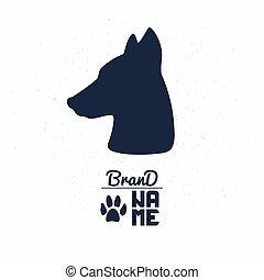 Hand gezeichnete Silhouette von Hundekopf. Das Logo-Template für die Verpackung oder Markenidentität
