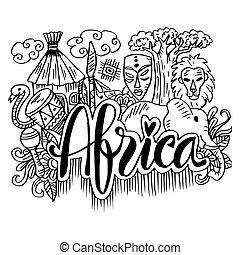 Hand gezeichnete Symbole von Afrika.