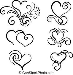 Hand gezeichnete Vektor-Swirl-Herzelemente.