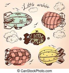 Hand gezeichnete Vektor Vintage Kollektion von süßen kleinen Airchips Witz