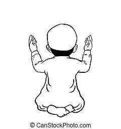 Hand gezeichneter Moslemjunge betet -Vector Cartoon Illustration