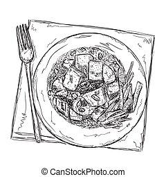 Hand gezeichnetes Essen