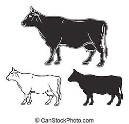 Hand gezeichnetes Kuhset. Vector Illustration