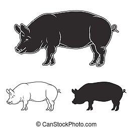 Hand gezeichnetes Schweinset. Vector Illustration