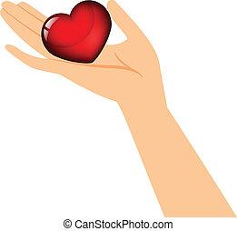 Hand hält das Herz