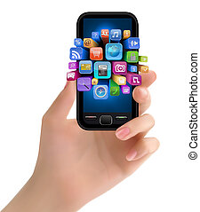 Hand hält Handy mit Ikonen. Vector