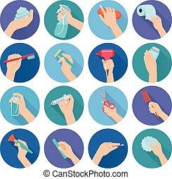 Hand hält Objekte flach.
