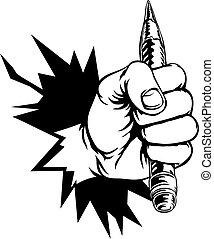 Hand halten Bleistift brechen Hintergrund.
