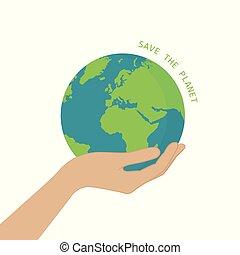 Hand halten Erde, außer dem Planetenkonzept.