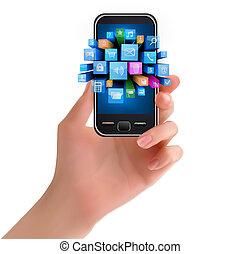 Hand halten Handy mit Icon.