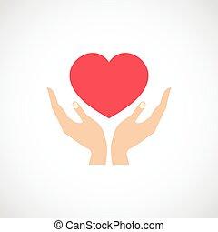 Hand halten, Herz schützen.