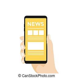 Hand halten Smartphone mit Online-Nachrichten auf dem Bildschirm.