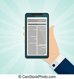 Hand halten Smartphone mit Zeitung auf dem Bildschirm
