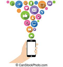 Hand halten Telefon mit Ikonen.