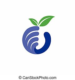 hand holding, blaubeere, fruechte, logo