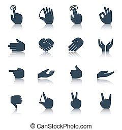 Hand-Icons schwarz.