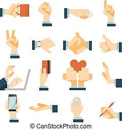 Hand-Icons sind flach.