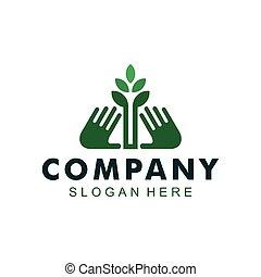 hand, ikone, logo, natur, pflanze, retten
