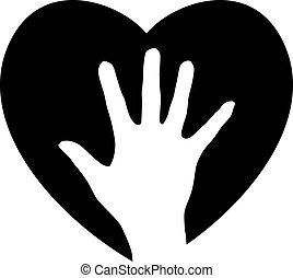 Hand ins Herz helfen
