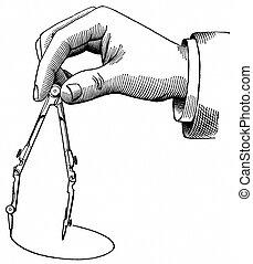 hand, kreis, kompaß, zeichnung