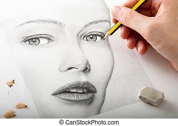 Hand malt eine Frau