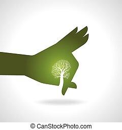 Hand mit Baum.