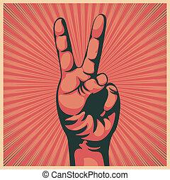 Hand mit dem Siegeszeichen