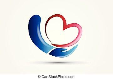 Hand mit einem Logo.