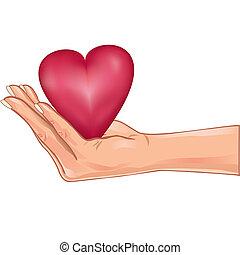 Hand mit einem roten Herzen, isoliert über weiß