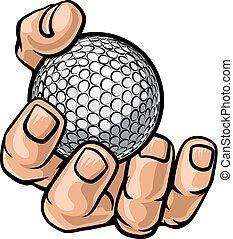 Hand mit Golfball