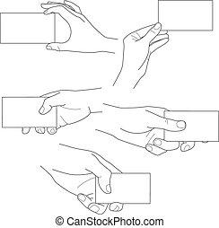 Hand mit leeren Visitenkarten Vektorset.