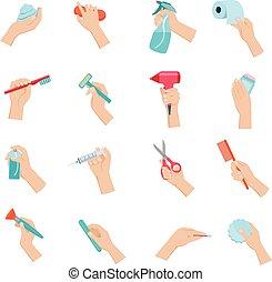 Hand mit Objekten eingestellt.