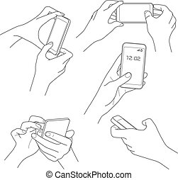 Hand mit Smartphone-Sketch Vektorgrafiken.