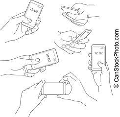 Hand mit Smartphone-Vektorgrafiken.