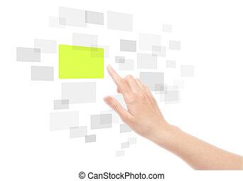 Hand mit Touchscreen-Interface