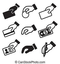 Hand mit verschiedenen Symbolen gesetzt